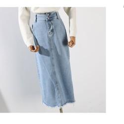 Chân váy jean lưng cao 2 nút như hình