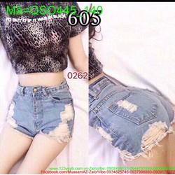 Quần jean short nữ cạp cao lai tua tinh nghịch thời trang QSO445
