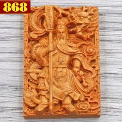 Mặt gỗ ngọc am khắc tượng Quan công MG47