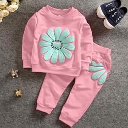 Bộ quần áo hoa cúc thu đông cho bé từ 1-7 tuổi