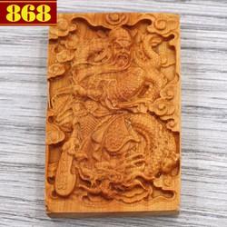 Mặt gỗ ngọc am khắc tượng Quan công MG49