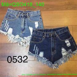 Quần jean short nữ rách phối tua lưng cao cực đáng yêu QSO418