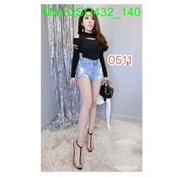 Quần jean short nữ cạp cao màu xanh nhạt cá tính thời trang QSO432