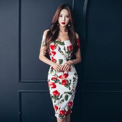 Đầm body hoa trễ vai