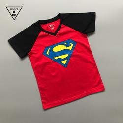 Áo thun cotton in hình siêu nhân cho bé trai