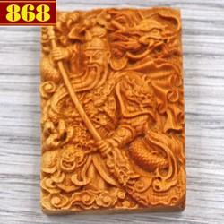 Mặt gỗ ngọc am khắc tượng Quan công MG46