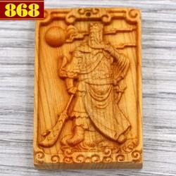 Mặt gỗ ngọc am khắc tượng Quan công MG50