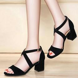 Giày cao gót 7 phân đế vuông quai chéo 2 dây giá rẻ