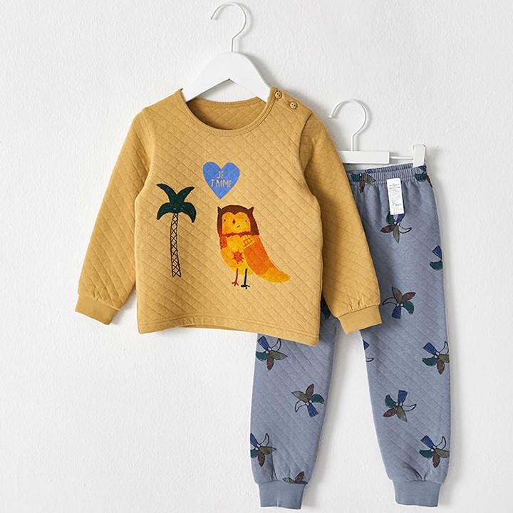 Bộ đồ cotton hình cú cho bé - quần áo trẻ em Hàn Quốc 1