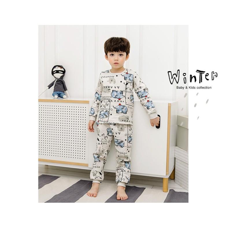 Bộ đồ cotton hình voi cho bé - quần áo trẻ em 1