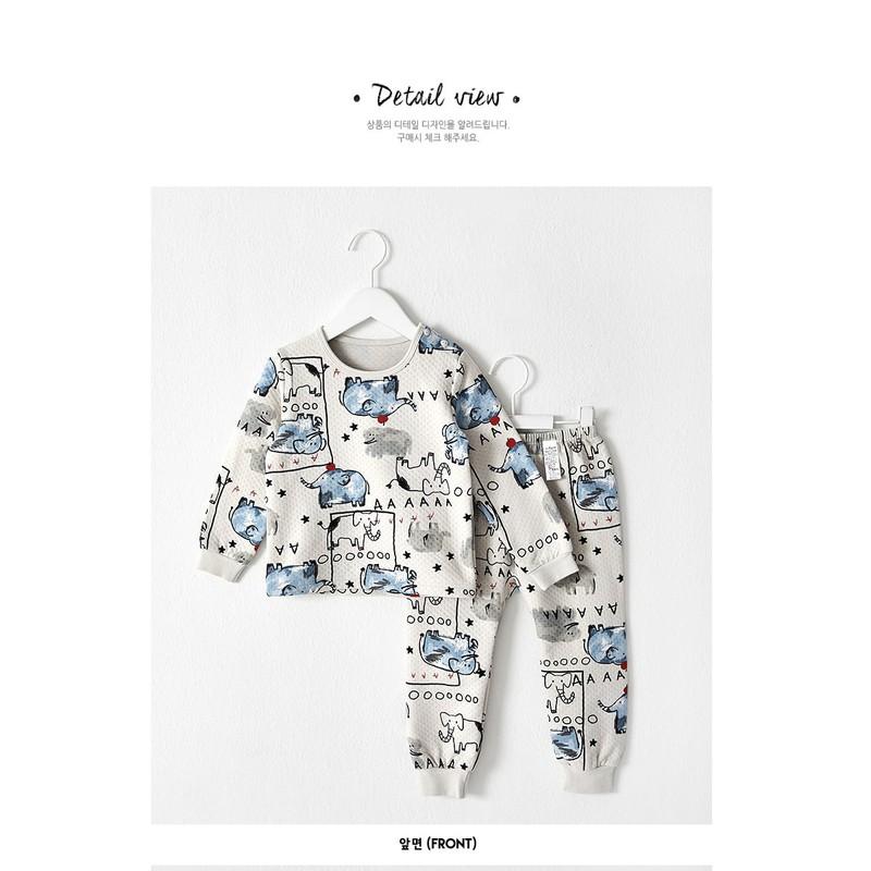 Bộ đồ cotton hình voi cho bé - quần áo trẻ em 3