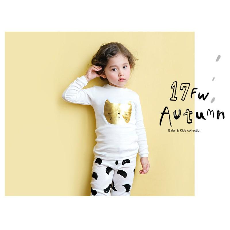 Bộ đồ họa tiết mèo vàng cho bé - quần áo trẻ em - thời trang bé gái 1