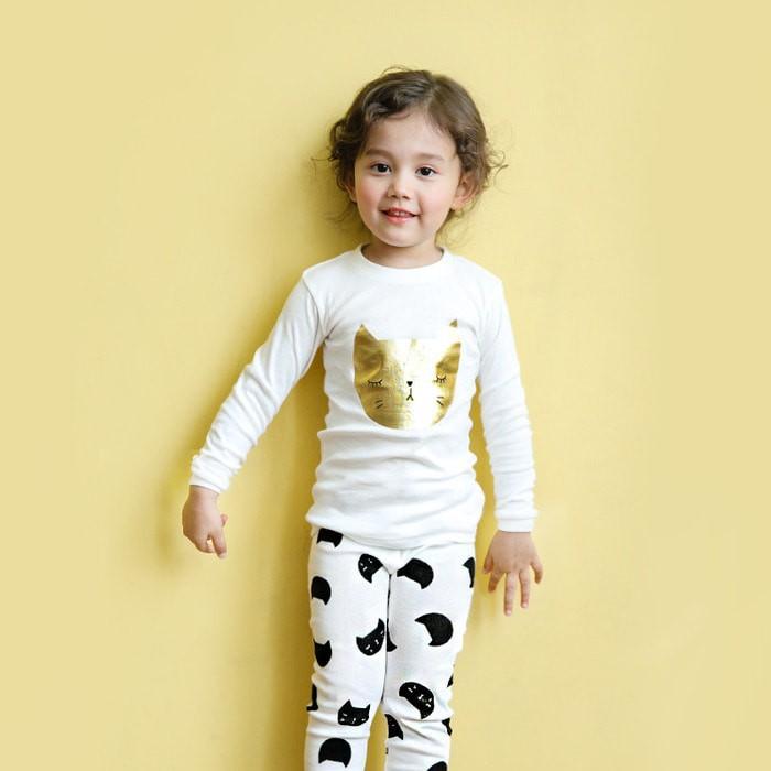 Bộ đồ họa tiết mèo vàng cho bé - quần áo trẻ em - thời trang bé gái 4