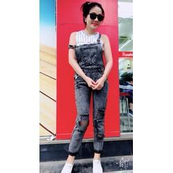Yếm jean rách gối thời trang