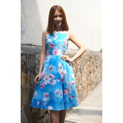 Đầm Xòe Hai Dây Hoa Xanh 3D