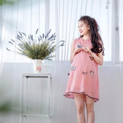 Đầm bầu công sở họa tiết bướm xinh, trẻ trung, năng động
