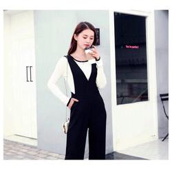 Set áo trắng viền đen quần yếm đen