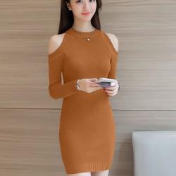 Đầm ôm len khoét vai cao cấp DON5204 - Hàng nhập loại 1