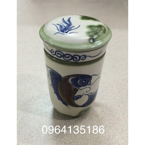 Cốc lọc trà vẽ cá gốm sứ Bát Tràng