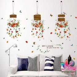 Decal dán tường Chậu hoa
