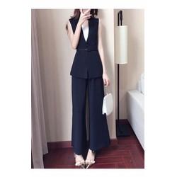Set xanh đen áo khoác vest sát nách quần dài