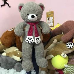 Thú bông gấu bông lông xù quàng khăn hình bàn chân gấu 90cm