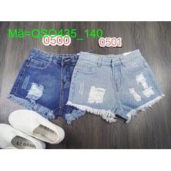 Quần jean short nữ hai màu lai tua phong cách thời trang QSO435