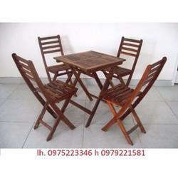 bàn ghế gỗ xếp cần thanh lý gấp gỗ dầu