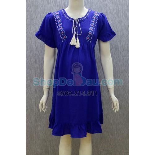 Đầm bầu cổ tròn - thêu - voan dày