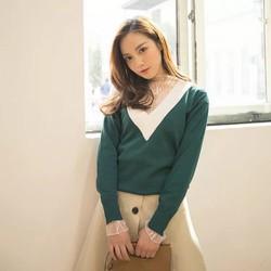 Áo len kiểu tay dài cổ tim phối viền cổ nổi bật hàng nhập QC