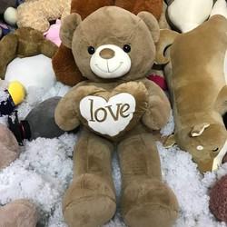 Thú bông gấu bông ôm tim love chữ trắng 90cm
