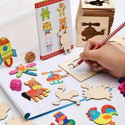 bộ Khuôn hình cho bé tập vẽ gồm 50 chi tiết hoạt hình Vở 12 bút màu bú
