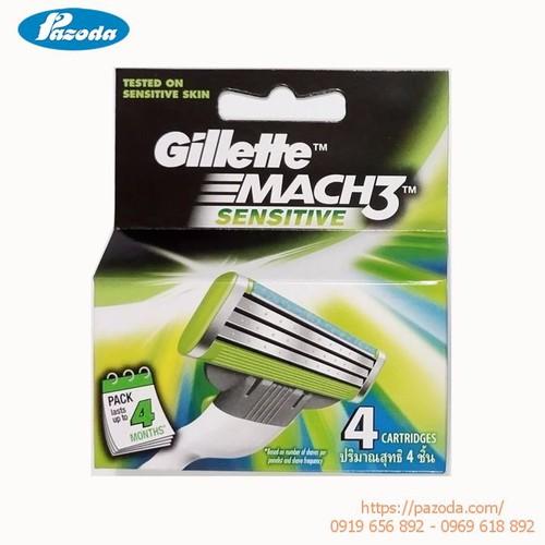 Hộp 4 lưỡi dao cạo râu Gillette Mach 3 sensitive - 10466825 , 8430282 , 15_8430282 , 300000 , Hop-4-luoi-dao-cao-rau-Gillette-Mach-3-sensitive-15_8430282 , sendo.vn , Hộp 4 lưỡi dao cạo râu Gillette Mach 3 sensitive