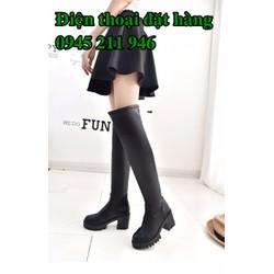 C33 Giày Bốt Cao Cổ Kéo Khóa Sau Kiểu Hàn Quốc