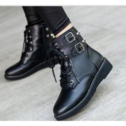 Giày boot combat nữ 2 khóa