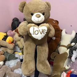 Thú bông gấu bông ôm tim love chữ trắng 1m1