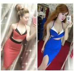 Set váy body đắp chéo cao cấp