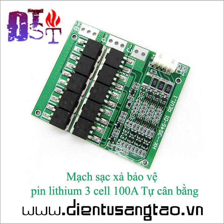 Mạch sạc xả bảo vệ  pin lithium 3 cell 100A Tự cân bằng 2