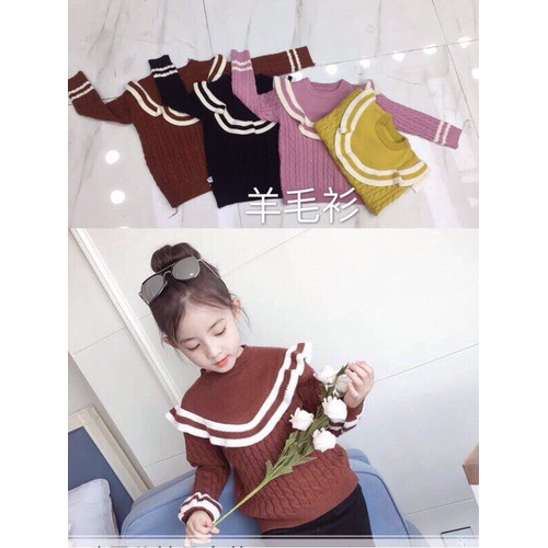 Áo len bé gái dày cổ bèo 4-5 tuổi