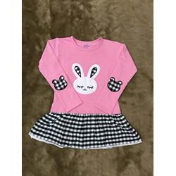 Đầm thun phối váy caro hình thỏ