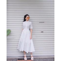 Đầm Xòe Chấm Bi Vintage Cổ Sơ Mi D975