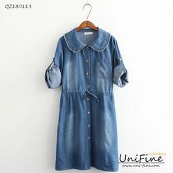Đầm jean cài nút
