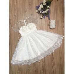 Đầm xòe hoa kết tay cao cấp 4 màu trắng, đỏ, hồng, xám