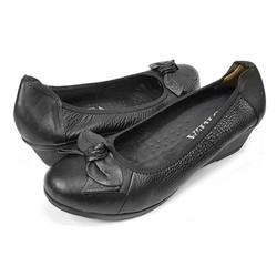Giày Cao Gót 3cm Đế Xuồng Nữ Da Bò Thật Ensado - Đen