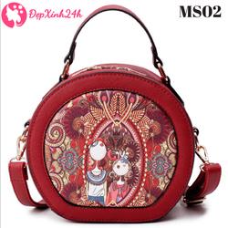 Túi xách nữ thời trang đẹp hộp tròn MS02