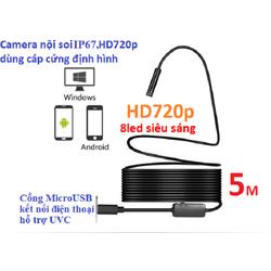 Camera nội soi cáp cứng định hình HD720p dài 5m chống nước IP67