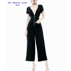 Jumpsuit Lửng Tay Con Xẻ Ngực