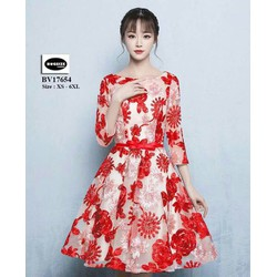 Đầm xoè  tay lửng ren hoa siêu sang