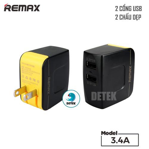 Cốc sạc thời trang Remax 3.4A 2 cổng USB Đen