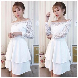 Đầm xoè ren bẹt vai
